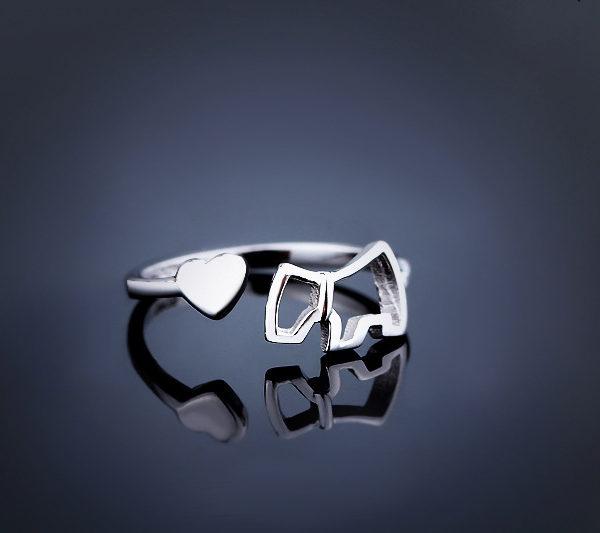 LuandZu Šperk Prstýnek Stříbrný Westík Westie West Highland White Terrier Pejsek design Dyzajn Móda Luxus Prsten
