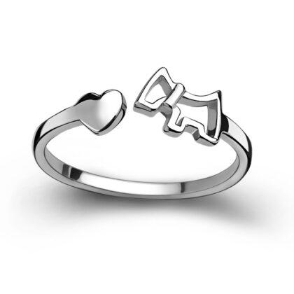 LuandZu Šperk Prstýnek Stříbrný Westík Westie West Highland White Terrier Pejsek design Dyzajn Móda Luxusní