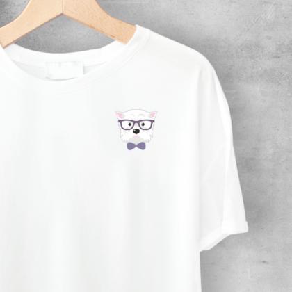 LuandZu Dámské Tričko Bílé Westík Westie West Highland White Terrier Design Dyzajn Móda Dámské Dětské tričko s Westíkem Elegán