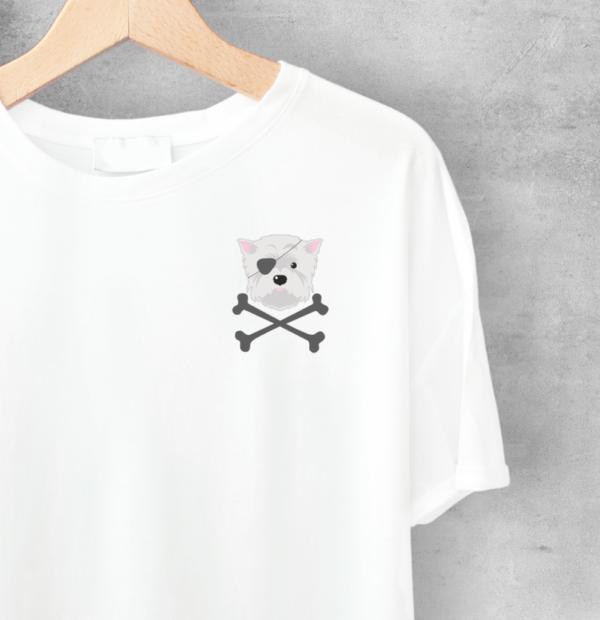 LuandZu Dámské Tričko s motivem pirát Bílé Westík Westie West Highland White Terrier Design Dyzajn Móda Dámské Pirát West Highland White Teriér