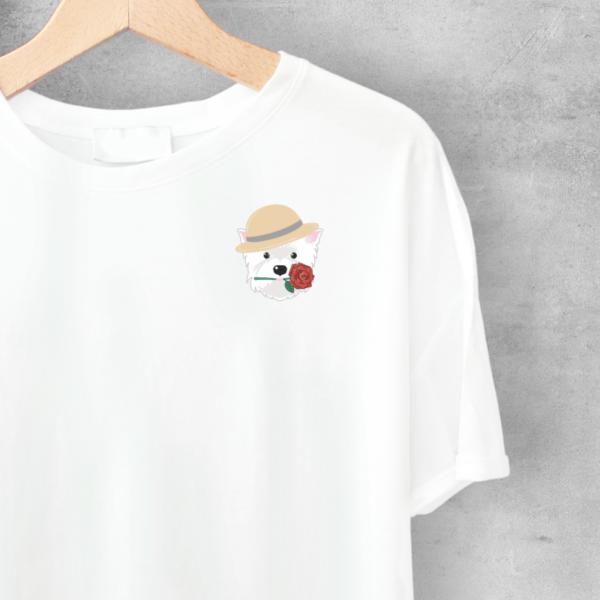 LuandZu Pánské Tričko Bílé Westík Westie West Highland White Terrier Design Dyzajn Móda Dámské Romantik Dětské Motiv Westík Romantic Tričko s Westíkem Dámské tričko s westíkem