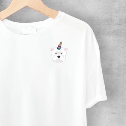 LuandZu Dámské Tričko Bílé Westík Westie West Highland White Terrier Design Dyzajn Móda Dásmké Jednorožec Dětské tričko s Westíkem Motiv Westík Jednorožec