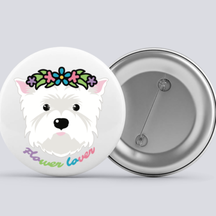 LuandZu Placka Bílá 37 mm Westík Westie West Highland White Terrier Flower Lover