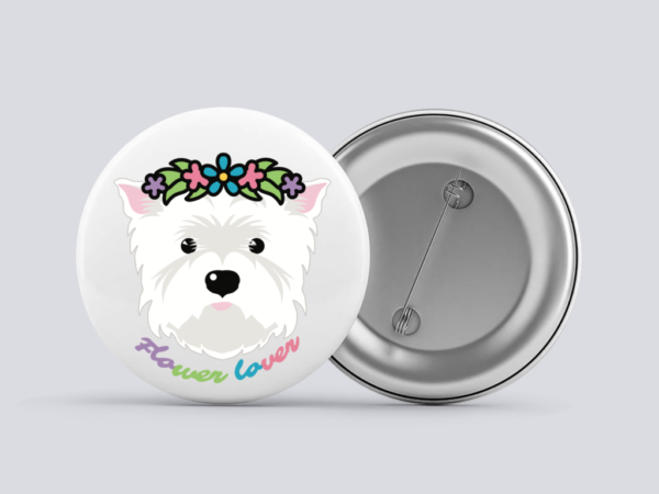 LuandZu Placka Bílá 37 mm Westík Westie West Highland White Terrier Flower Lover
