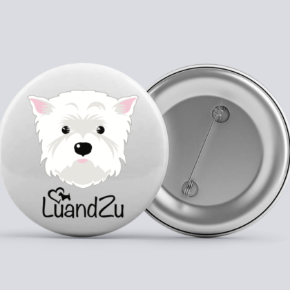 LuandZu Placka Bílá 37 mm Westík Westie West Highland White Terrier Logo