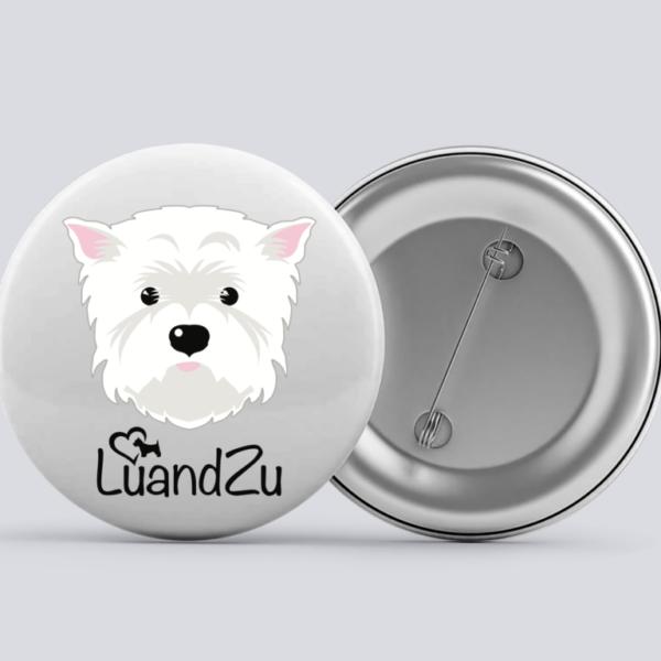 LuandZu Placka Bílá 37 mm Westík Westie West Highland White Terrier Logo
