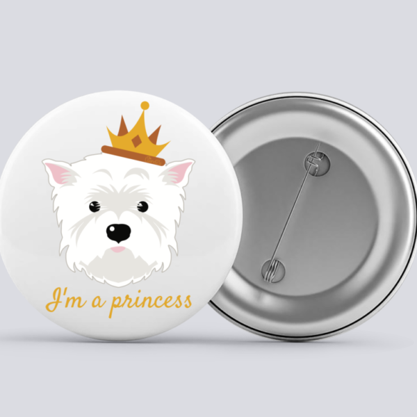 LuandZu Placka Bílá 37 mm Westík Westie West Highland White Terrier Princezna
