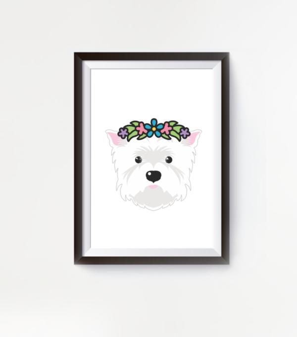 LuandZu Plakát Obrázek Westík Westie West Highland White Terrier Flower Lover Plakát s Westíkem