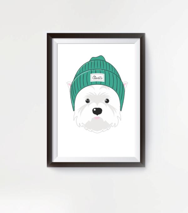 LuandZu Plakát Obrázek Westík Westie West Highland White Terrier Westík Kulíšek