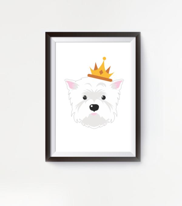 LuandZu Plakát Obrázek Westík Westie West Highland White Terrier Princezna Plakát s Westíkem