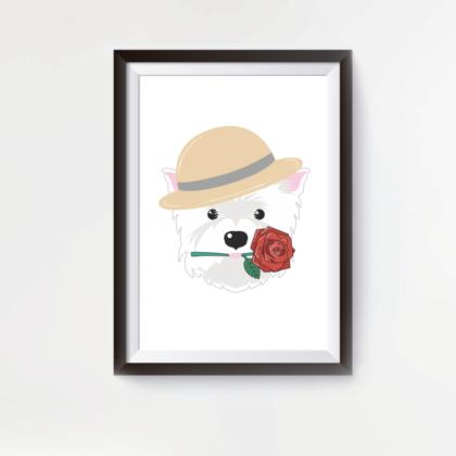 LuandZu Plakát Obrázek Westík Westie West Highland White Terrier Romantik Romantic West Highland