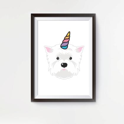 LuandZu Plakát Obrázek Westík Westie West Highland White Terrier Unicorn Jendorožec Designový plakát s westíkem
